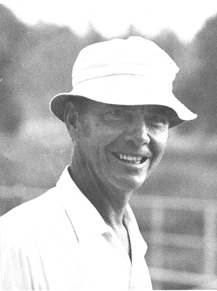 Paul A. Bredenberg on tennis court, about 1965