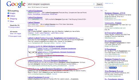 Google search on 'lafont designer eyeglasses'