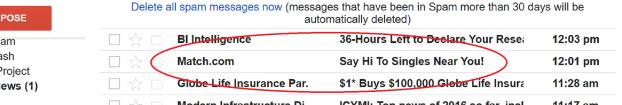 Match.com spam message