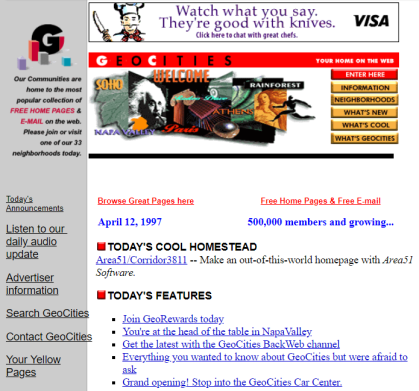 Geocities home page, 1997