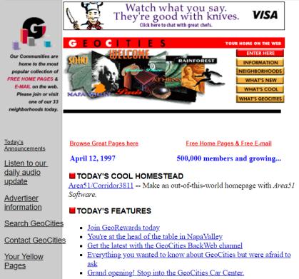 Geocities home page, 1997