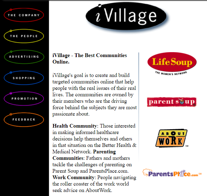 iVillage home page, 1997
