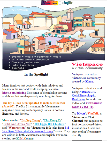 Vietspace home page, 1997