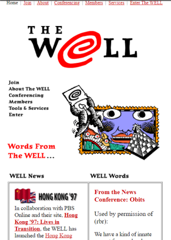 The WELL home page, 1997